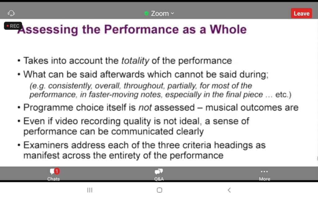 abrsm exam  - performance as a whole